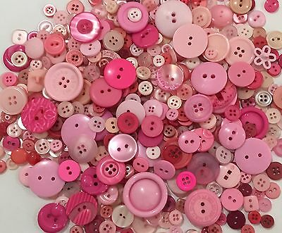 Pink Buttons 100pcs Assorted Shades & Sizes Bulk Lot Aussie Seller