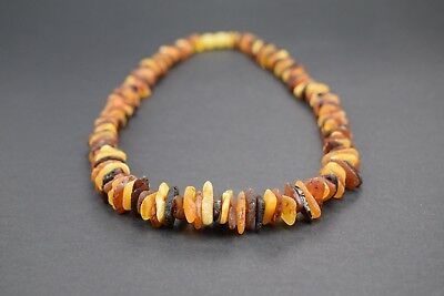 Genuine Natural Baltic Amber Necklace Raw Unpolished Multicolored Beads Screw