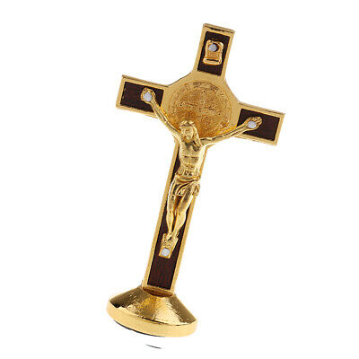 Jesus Standing Cross Crucifix Figurine for Car Home Chapel Decoration Gold