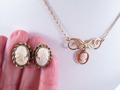 3 pc set of VINTAGE GF SHELL CAMEO SCREWBACK EARRINGS AND NECKLACE