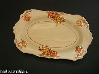 A.J. Wilkinson Vintage English China Sandwich Cake Tray Art Deco Floral 1940s