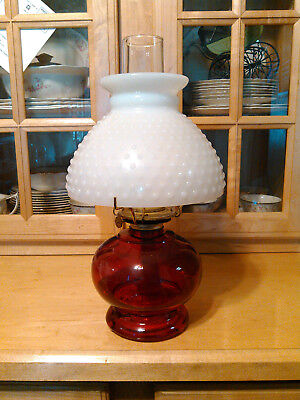 Vintage Ruby Red Oil Lamp with Milk Glass shade