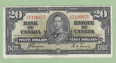 1937 Bank of Canada 20 Dollar Note - Coyne/Towers - K/E7126855 - VF