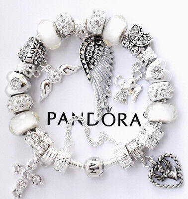 "Authentic Pandora Sterling Silver Bracelet ""ANGEL OF MY HEART"" European Charms"