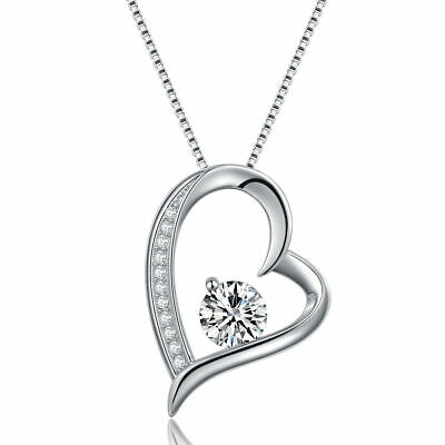 Heart Crystal Pendant 925 Sterling Silver Chain Necklace Womens Jewellery Gift