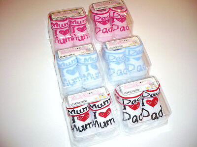 "süße Baby Socken ""I LOVE DAD / MUM "" 0-3 Monate in weiß / rosa / blau"