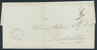 1836 Stampless, Sussex Vale NB to Fredericton, Choice Strike of Sussex Vale Star