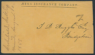 1855 Stampless Aetna Insurance Cover, Halifax to Bridgetown NS, Rated 3