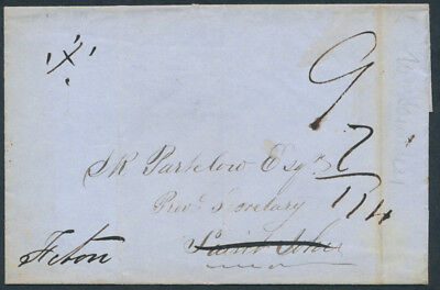 1850 WO Kouchibouguac NB Stampless, Rated 9d to St John, Redirected