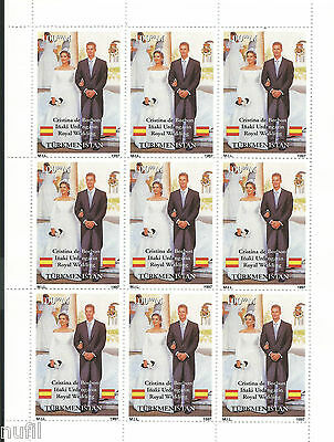 Turkmenistan Mini Sheet Wedding Real Cristina - Urdangarin Royal Wedding 1997