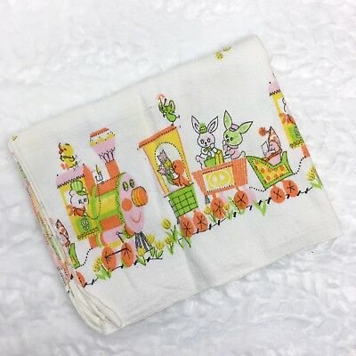 Vintage 1970s Baby Receiving Blanket Bunnies Train Floral