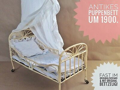 Rarität! Puppenbett Eisen antik 1900  (Victorian antique doll bed iron original)