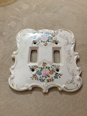 Vintage Hand Painted China Dual Switch Wall Plate Cover Hollywood Regency floral