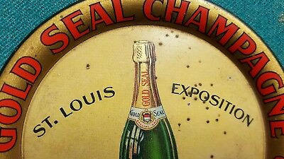 Gold Seal Champagne Urbana Wine Co. Tin Litho Tip Tray 1904 St Louis Worlds Fair