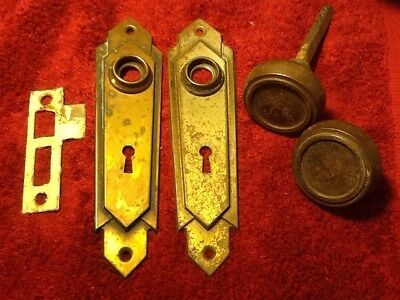 Vintage Antique 30'S Art Deco Mortise Door Set Steel Knobs Backplates