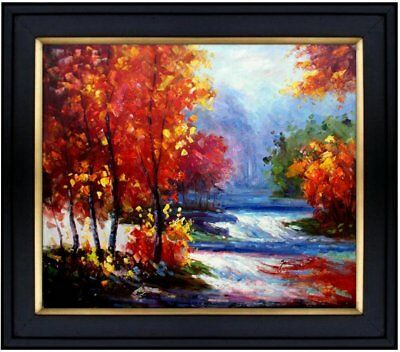 Framed, Landscape in Autumn, Hand Painted Oil Painting 20x24in