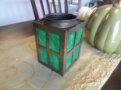Antique Green Slag Glass Lantern Style Lamp Shade