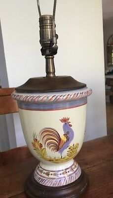 Vintage Pierre Deux Hand-Painted Ceramic Rooster Country Lamp