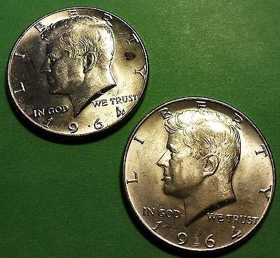 { 2 }1964  Kennedy Half Dollars @ 90%  Silver @ Very Nice @ Lot # 117 @
