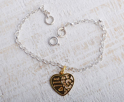 Sterling Silver & Gold Plated Best Friends Heart Ankle Chain Bracelet Anklet 925