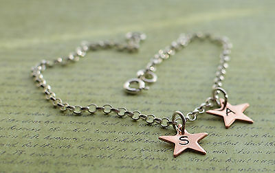 Sterling Silver & Two Copper Personalised Star Charm Ankle Bracelet Anklet 925