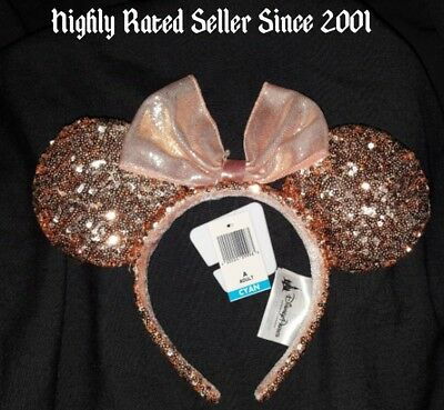 disneyland rose gold minnie headband ears authentic disney sequin ready to ship cad. Black Bedroom Furniture Sets. Home Design Ideas