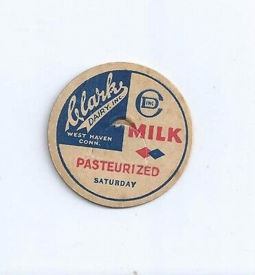 """Clark Dairy, Inc.""  West Haven, Conn.  milk bottle cap."