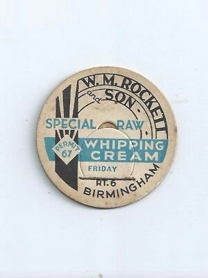 """W.M. Rockett  and Son""   Birmingham, (Ala.)  milk bottle cap."