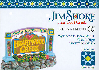 Jim Shore - Welcome To Heartwood Creek Sign - Nib (16-0214)
