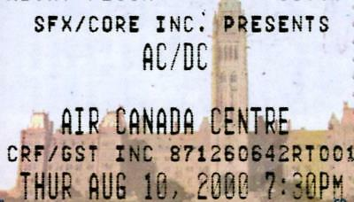 Ac/dc Concert Ticket Aug. 10, 2000 - Air Canada Centre - Toronto