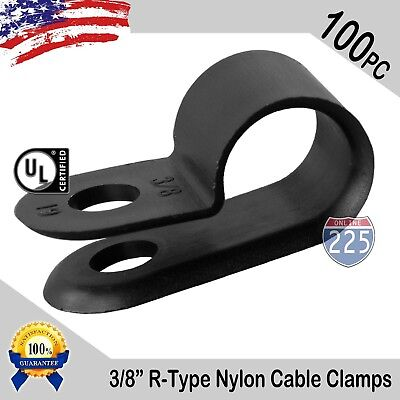 """100 PCS PACK 3/8"""" Inch IN R-Type CABLE CLAMP NYLON BLACK HOSE WIRE ELECTRICAL UV"""