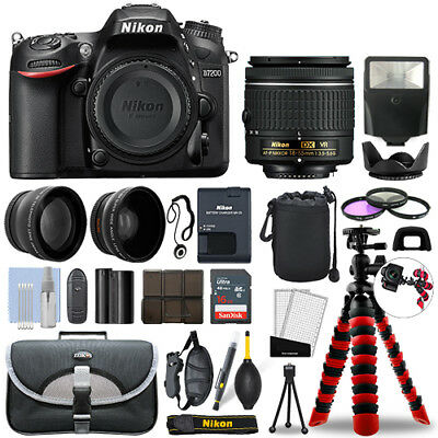 Nikon D7200 Digital SLR Camera with 18-55mm + 16GB 3 Lens Ultimate Accessory Kit
