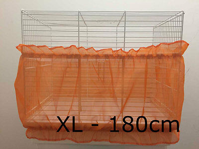 Bird cage tidy, cage seed catcher guard pile fabric double strap Orange XL 180cm