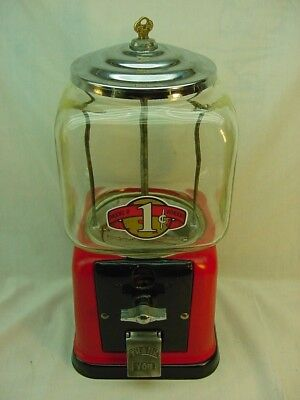 Vintage Victor 1 Cent Gumball Machine With Key, Good Glass, Works