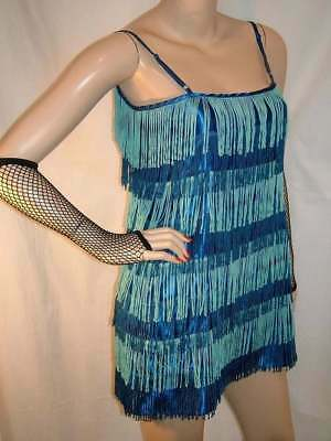 New Royal Blue 1920 Vintage Flapper Baby Blue Fringe Fancy Dress 12