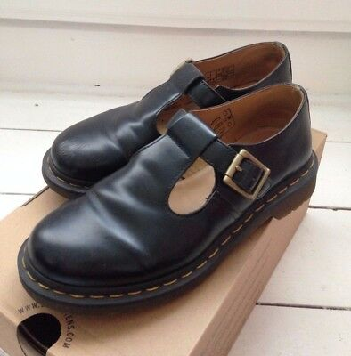 Dr Martens Polley Black Leather Yellow Stitching T Bar Mary Jane Shoes Size 6