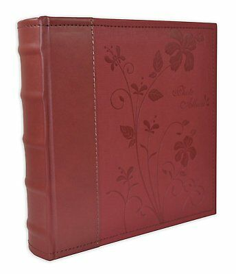 Vintage Photo Album Faux Leather Holds 200 Pictures  4x6 Inches Pockets Family