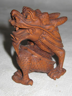 Vintage Japanese carved wood dragon netsuke