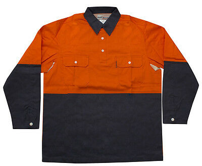 TRADIE SAFETY Flame Retardant (FR) Comfort Shirt – Orange/Blue