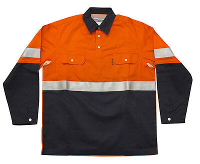 TRADIE SAFETY Flame Retardant (FR) Comfort Shirt – Orange/Blue DAY/NIGHT