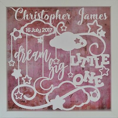 Dream Big Little One | Baby and Newborn | Personalised White Shadow Box Frame