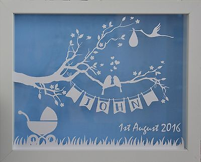 Newborn | Personalised White Shadow Box Frame | Babyname and and Birthdate