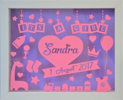 Its a Girl | Personalised White Shadow Box Frame | Newborn Gift