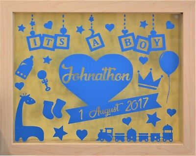 Its a Boy | Personalised Natural Shadow Box Frame | Newborn Gift