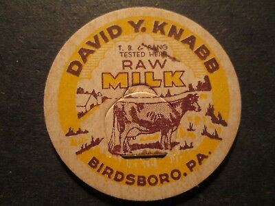 Milk Bottle Cap David Y Knabb Birdsboro Pa