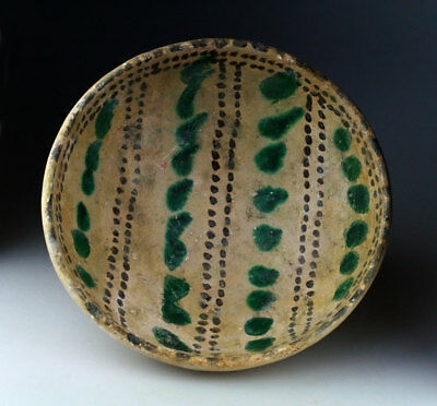 *SC*A NICE AND HEAVY, GLAZED ANCIENT ISLAMIC POTTERY BOWL, 10th-12th cent. AD!