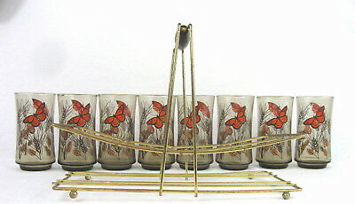 Mid Century Libby Vintage Butterfly Glasses and Caddy set of 8