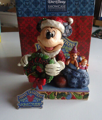 Jim Shore Heartwood Creek Walt Disney Mickey Mouse Merry Christmas to you 6""