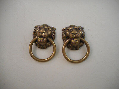 2 Small Vintage Plated Diecast Lion Head Drawer Pulls