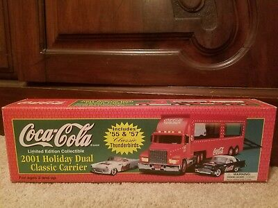 "NIB Coca Cola ""2001"" Holiday Dual Classic Carrier With '55 & '57 Thunderbirds"